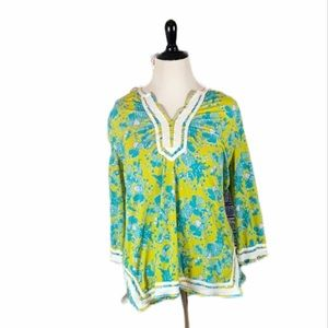 Island Republic Long Sleeve Floral Inspired Top XL